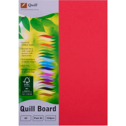 CARD- QUILL A4 XL BOARD 210GSM RED PKT