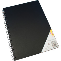 Quill Visual Art Diary A4 110gsm Cartridge 120 Pages Poly Cover Black