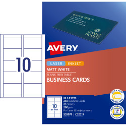 AVERY QUICK & CLEAN BUSINESS CARDS C32011-25 10 P/Sht Black and White PK250